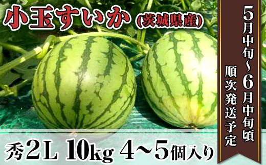 12-4茨城県産小玉すいか【秀2L】10kg(4~5個)
