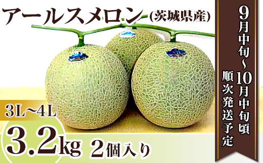 12-11茨城県産アールスメロン【3L~4L】3.2kg(2個)