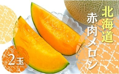 \先行予約!/待つほどおいしい!北海道「赤肉メロン」2玉(7月~発送予定)