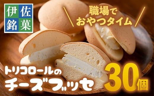 A2-09 伊佐銘菓!トリコロールのチーズブッセ(30個) 職場のおやつタイムに!ブッセに虜(とりこ)【ケーキハウストリコロール】