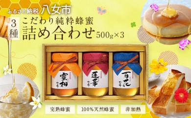 【ギフト用】国産 蜂蜜 ギフト 500g×3本セット(レンゲ 百花 みかん)