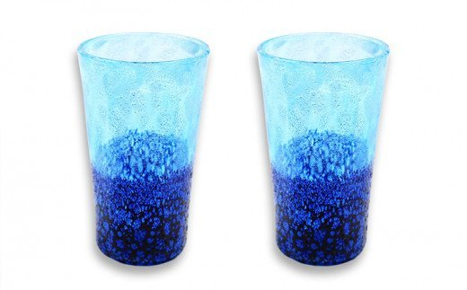 琉球ガラス コバルトLグラス 2個セット