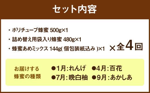 【定期便 年4回】【厳選】ポリチューブ蜂蜜&詰め替え袋+蜂蜜あめ袋