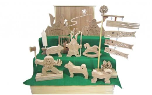 M268S02 木製の五月人形  3段飾り 箱入 (エンジュの木) 特大