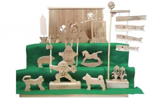 M195S02 木製の五月人形  3段飾り 箱入 (エンジュの木) 大