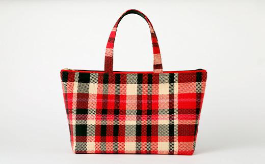 八代産 手織り チェック柄 バッグ ハンドメイド