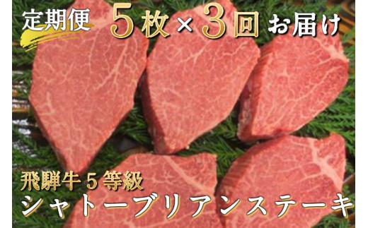 飛騨牛 定期便 5等級のシャトーブリアンステーキ 和牛 牛肉3回お届け 飛騨市推奨特産品 古里精肉店謹製