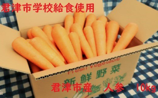 君津市学校給食使用! にんじん 10kg(箱詰め)