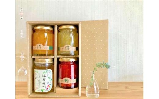 1172.季節の果実野菜の無添加ジャム&純粋蜂蜜セット(化粧箱)