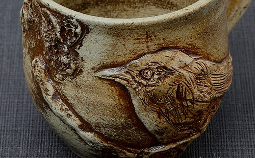 一夢庵風流窯 メジロの浮彫 カップ 浮き彫り 陶芸
