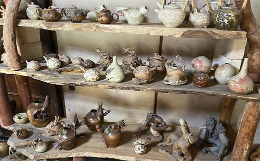 一夢庵風流窯 朽ちた竹の花瓶 (壁掛け可)花瓶 陶芸