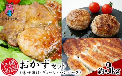 沖縄県産豚おかずセット(味噌漬け・ギョーザ・ハンバーグ)