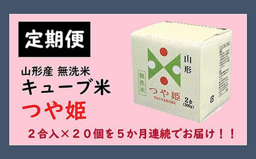 FY20-387 【5ヶ月連続定期便】山形産無洗米キューブつや姫(300g×20個)×5回