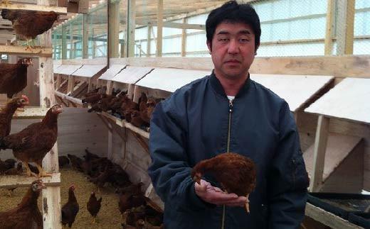 生産者のみながわ農場の金子 淳さんです。高知県の厳しい規定をクリアしたこだわりの卵には、安心と安全がたくさん詰まっています。