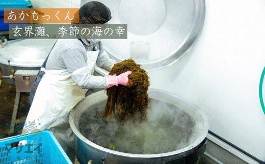 あかもくって、こんな海藻なんです! 大きな鍋で茹でていくと、鮮やかな緑色に変化します!