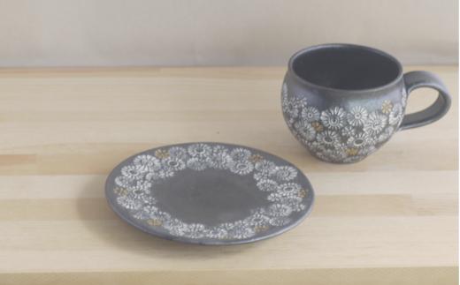 武雄焼(陶器)カップ&ソーサーセット 黒花三島