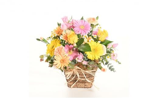 [№5940-0204]バラとガーベラのカジュアルなフラワーアレンジメント(生花)