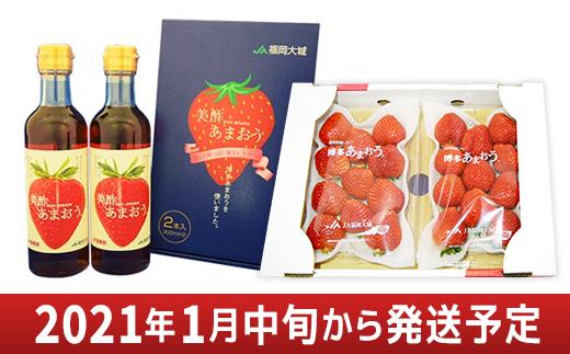02-AA-0703・あまおういちご1箱(2パック)&美酢あまおう2本セット(300ml×2本)