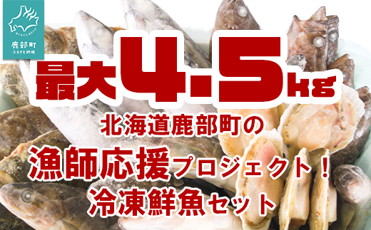 """北海道鹿部町の漁師応援プロジェクト! """"3Dエアブラスト凍結法""""を使った冷凍鮮魚セット 4~4.5kg  加熱奨励 一部内臓、鱗処理済み  冷凍 鮮魚 地元 (ホタテ)"""