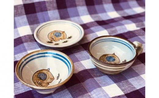 大宮育雄 キッズお食事セット(スープカップ・ご飯茶碗・お皿)ゾウ