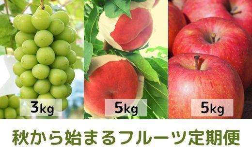 No.0640 【フルーツ定期便3回】  ぶどう「シャインマスカット3Kg」もも「ゆめかおり5Kg」 りんご「サンふじ5Kg」