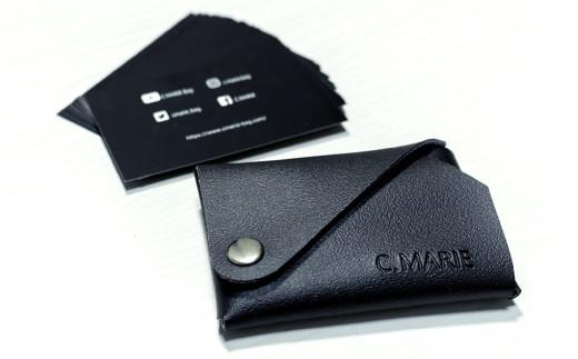 10-89 C.MARIE 名刺入れ・カード入れ ブラック 折り畳み