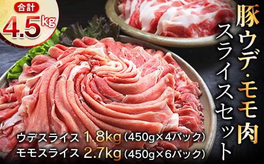 AC35 豚ウデ・モモ肉スライス4.5kg&粗挽きウインナー180gセット《合計4.6kg以上》都農町加工品