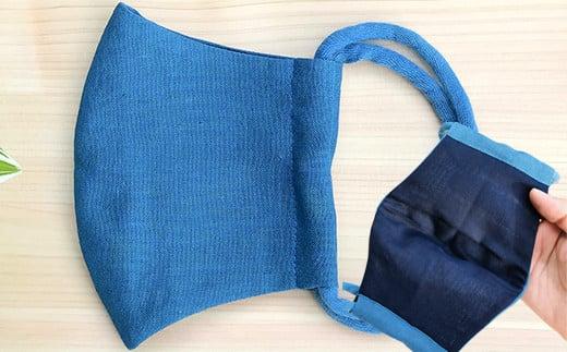 涼しい 藍染の綿麻マスク 1枚 大人用 Lサイズ 立体型 夏用