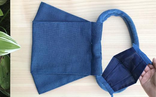 涼しい 藍染の綿麻マスク 1枚 大人用 Lサイズ プリーツ型 夏用
