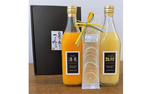 みかんジュースストレート(清見・瓢柑)500ml×2本とドライかぼすセット【1116803】