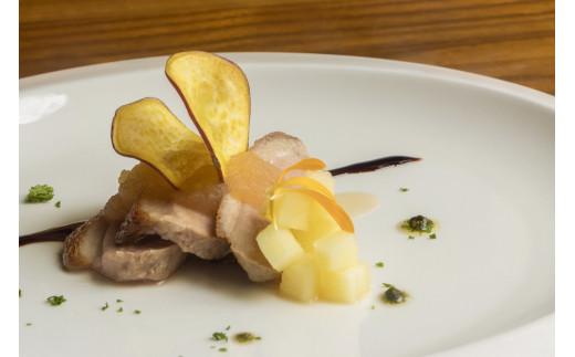 前菜:鴨のロティ ~リンゴのソースとさつま芋添え~