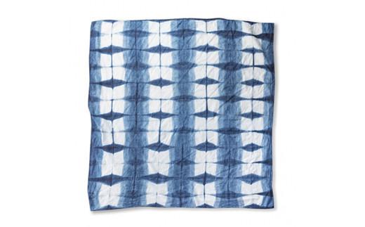 手染めガーゼショール ハーフサイズ クロス INDIGO×WHITE(藍染)・02-AV-1907