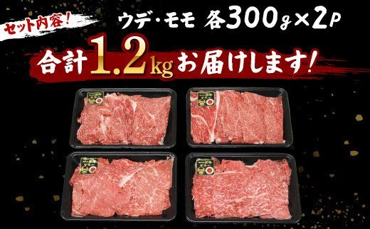KH-1501 鹿児島 黒牛 ウデ・モモ 切り落とし セット 計1.2㎏