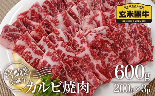 宮崎県産玄米黒牛 カルビ焼肉 600g 200×3パック【2月初旬より発送】<1-177>