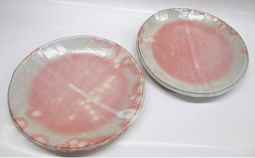 [№5226-0019]萩焼 8代佳炎作  ペア丸板皿