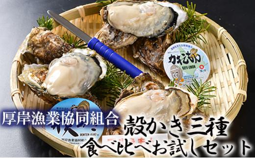 [№5863-0433]北海道厚岸産【殻かき三種】食べ比べお試しセット