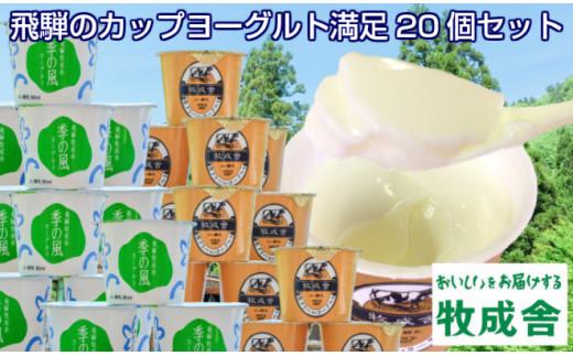 <牧成舎>飛騨の牛乳屋、こだわりカップヨーグルト20個セット a570