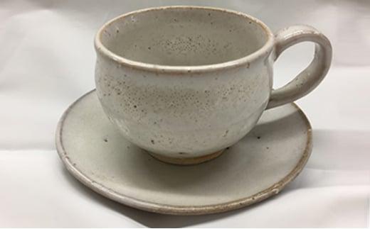 [№5226-0011]萩焼 8代佳炎作  白萩コーヒーセット(丸)