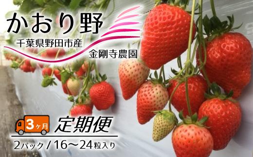 AF007 【毎月定期便3回】千葉県野田市産いちご(かおり野) 2パック