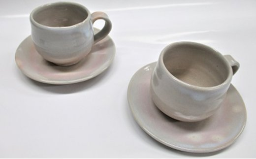 [№5226-0029]萩焼 姫土  ペアコーヒーセット