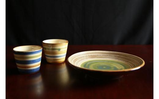 常秀工房 そばちょこ2個(呉須輪描き・鉄絵輪描き)と7寸洋皿(線彫りオーグスヤー1色)セット