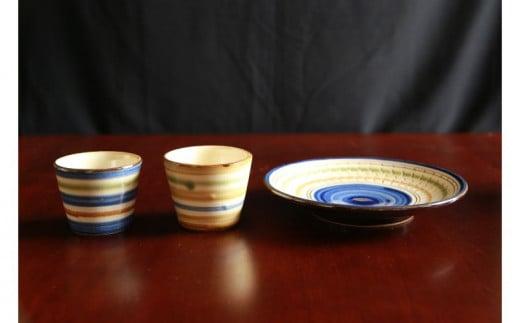 常秀工房 そばちょこ2個(呉須輪描き・鉄絵輪描き)と7寸洋皿(呉須飛びカンナ)セット