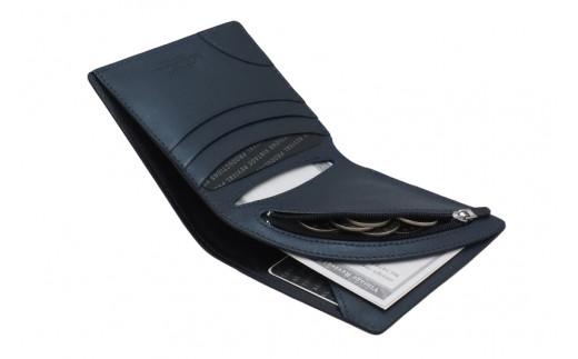 【革製品 二つ折り財布】R-42 AirWallet tanned leather ネイビー