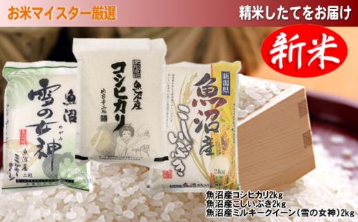 [№5762-0270][令和2年産]魚沼産米 こだわりの3品種食べ比べセット(精米)6kg(2kg×3種類)