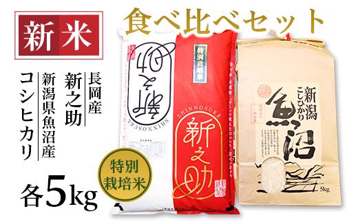 B7-31新潟県魚沼産(長岡川口地域)コシヒカリ5kg・長岡産新之助(特別栽培米)5kg食べ比べセット