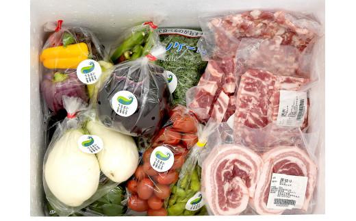 3種類の部位やカットが楽しめる四元豚と旬の野菜が楽しめるおまかせのセットです