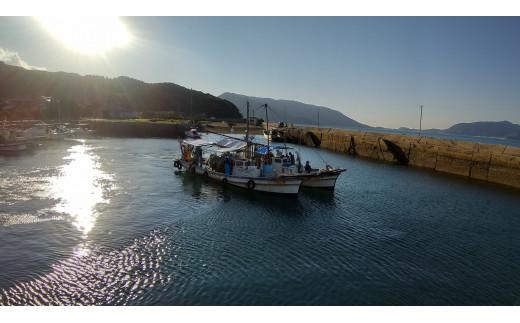 出港するイワシ網漁船