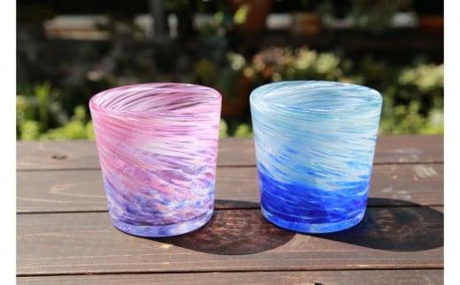 【伝統工芸】ガラス工房雫 深海ロックグラス 青・ピンク2個セット