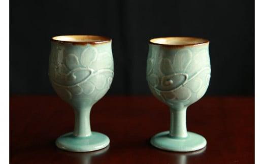 【伝統工芸】やちむんカフェ器人 うふどーブルーいっちんワイングラス2個セット