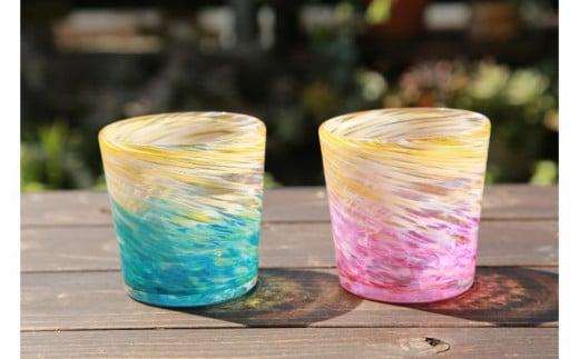 【伝統工芸】ガラス工房雫 深海ロックグラス ラグーン・ピンク2個セット